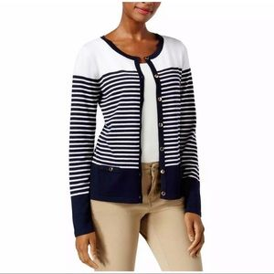 New Karen Scott navy blue striped cardigan sweater